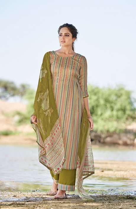 Casual Spun Stripe Prints Salwar Kameez In Multi with Chiffon Dupatta - MEH5566