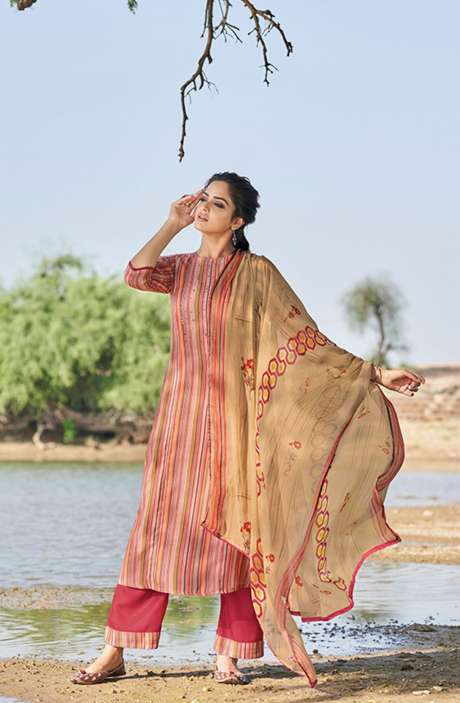 Casual Spun Stripe Prints Salwar Kameez In Multi with Chiffon Dupatta - MEH5567