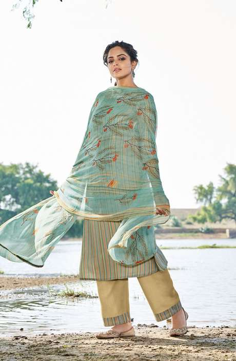 Casual Spun Stripe Prints Salwar Kameez In Multi with Chiffon Dupatta - MEH5568