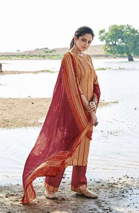 Casual Spun Stripe Prints Salwar Kameez In Multi with Chiffon Dupatta - MEH5569
