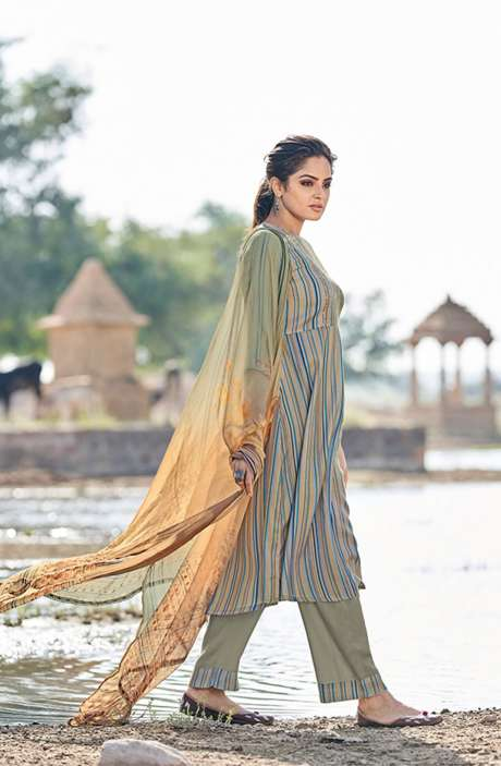 Casual Spun Stripe Prints Salwar Kameez In Multi with Chiffon Dupatta - MEH5570