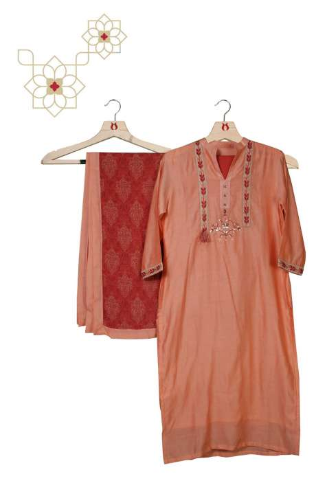 Chanderi Cotton Readymade Peach Salwar Suit Set - MEMCND5476B