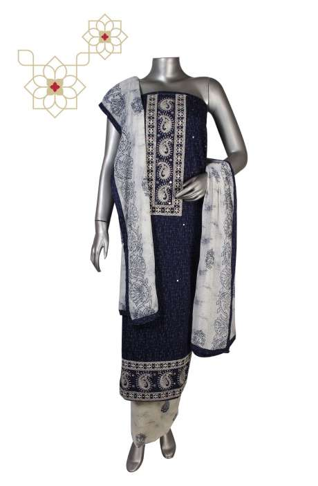 Cotton Digital Printed Unstitched Salwar Kameez in Blue - MEMCTN8026