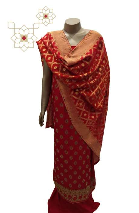 Crepe Designer Embellished Salwar Suit Sets in Red with Beautiful Chinon Dupatta - MEMSAT7801