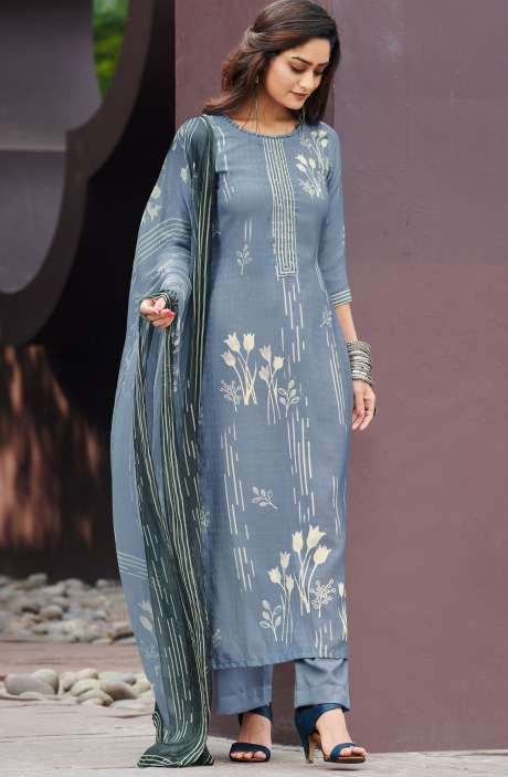 Spun Unstitched Printed Salwar Kameez In Grey with Chiffon Dupatta - MER4865