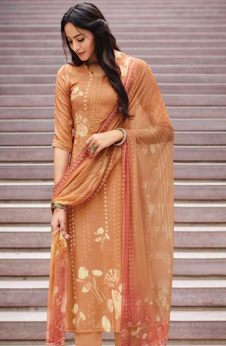 Spun Unstitched Printed Salwar Kameez In Orange with Chiffon Dupatta - MER4866