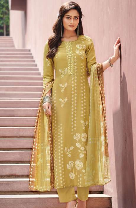 Spun Unstitched Printed Salwar Kameez In Mehndi Green with Chiffon Dupatta - MER4869