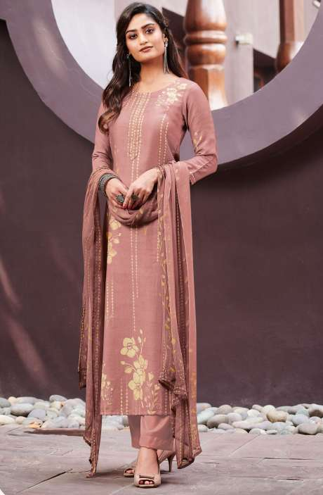 Spun Unstitched Printed Salwar Kameez In Mauve with Chiffon Dupatta - MER4870