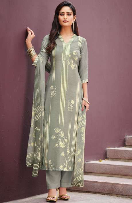 Spun Unstitched Printed Salwar Kameez In Pastel Grey with Chiffon Dupatta - MER4871