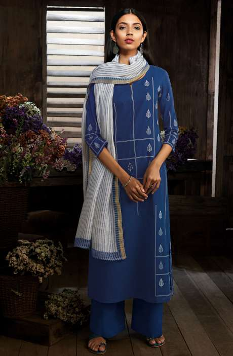 Cotton Digital Printed Unstitched Blue Salwar Suit - MID7410