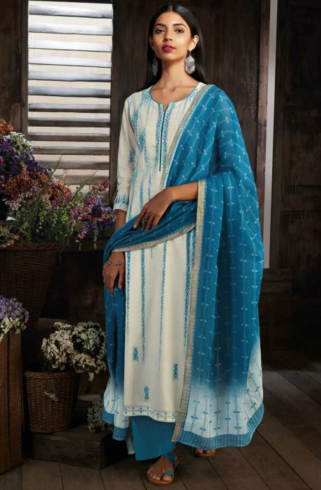 Cotton Digital Printed Unstitched Cream & Blue Salwar Suit - MID7411