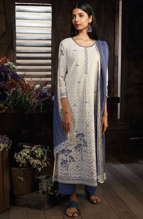 Cotton Digital Printed Unstitched Cream & Blue Salwar Kameez - MID7412