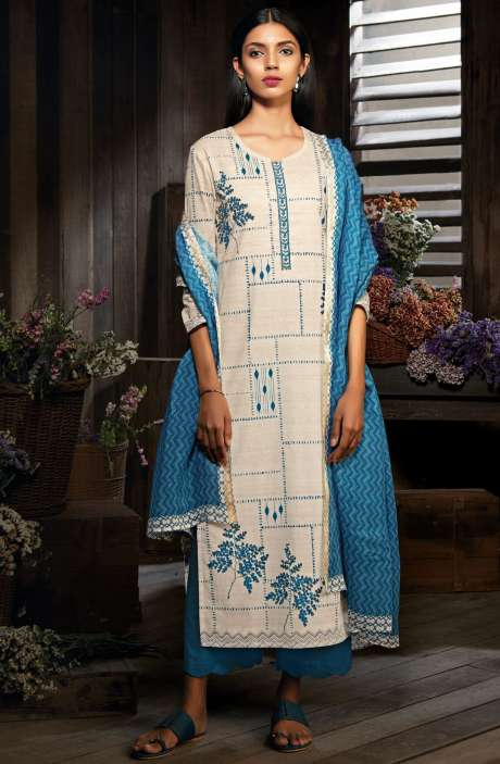 Cotton Digital Printed Unstitched Off-White & Blue Salwar Suit - MID7413