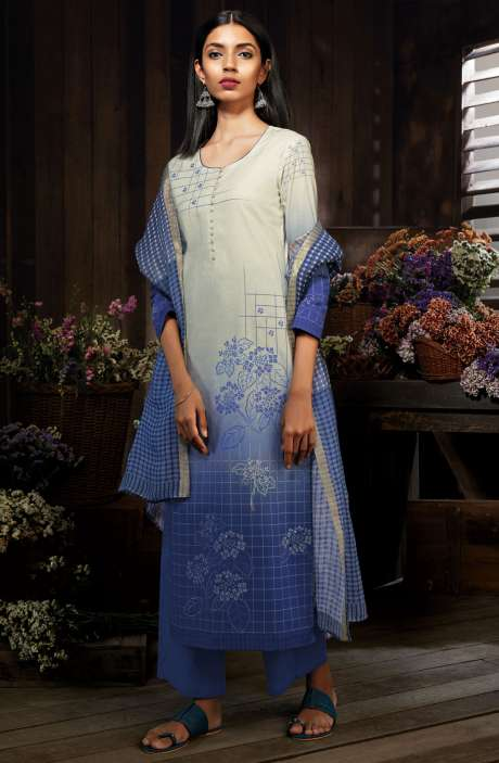 Cotton Digital Printed Unstitched Indigo Blue Salwar Suit - MID7414