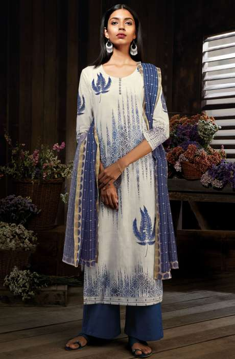 Cotton Digital Printed Unstitched Cream & Blue Salwar Suit Sets - MID7415