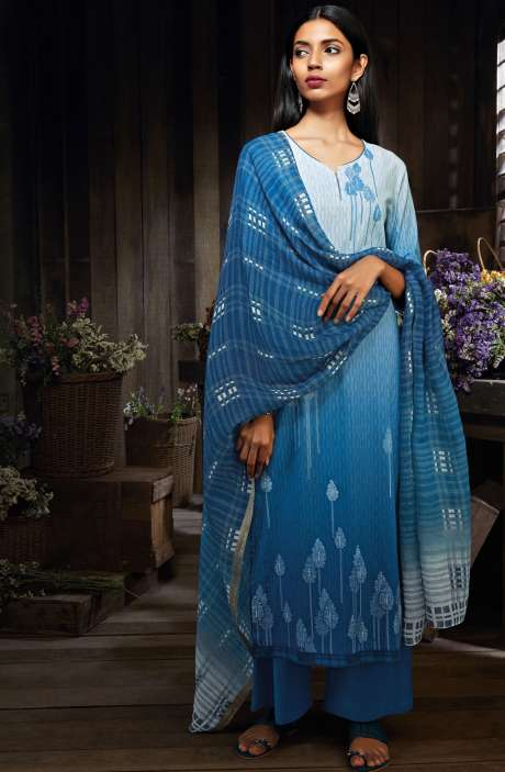 Cotton Digital Print Unstitched Sky Blue Salwar Suit - MID7417