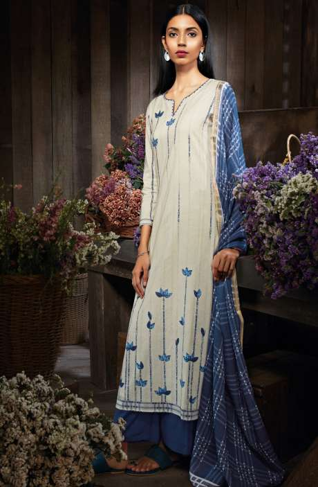 Cotton Digital Printed Unstitched Off-White & Blue Salwar Kameez - MID7418