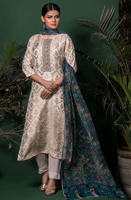 Beautiful Semi-stitched Silk Zari Weaving Exclusive Salwar Kameez in Cream - MIH5301