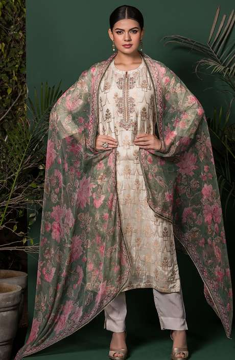 Beautiful Semi-stitched Silk Zari Weaving Exclusive Salwar Kameez in Cream - MIH5302
