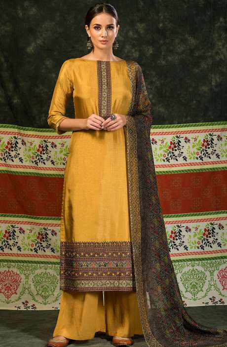 Russian Silk Unstitched Salwar Suit Sets In Mustard Yellow - MIN4040