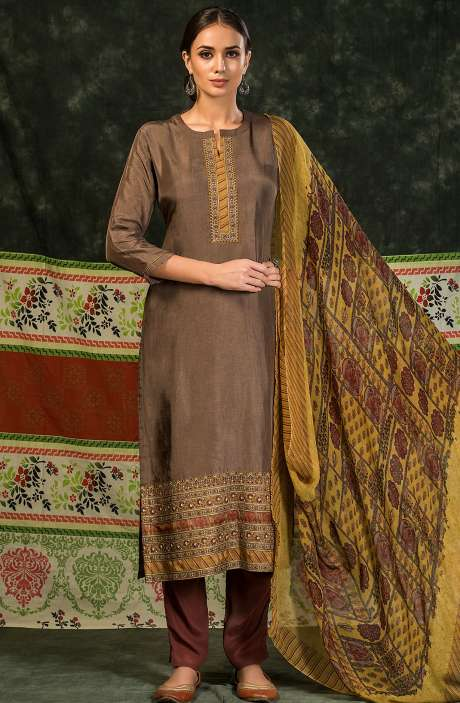 Russian Silk Unstitched Salwar Suit Sets In Brown - MIN4042