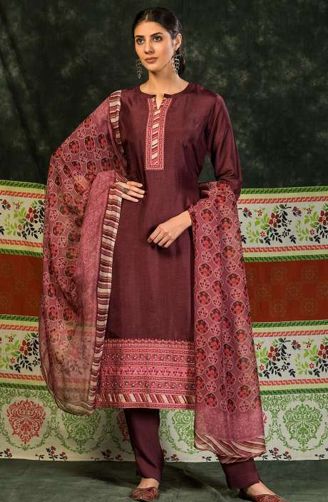 Russian Silk Unstitched Salwar Suit Sets In Purple - MIN4043