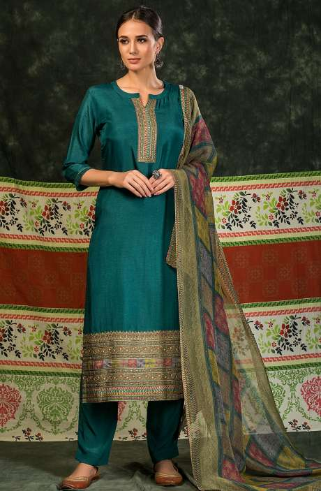 Russian Silk Unstitched Salwar Suit Sets In Bottle Green - MIN4044