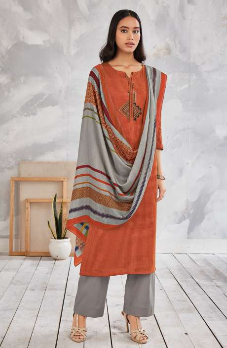 Cotton Printed Salwar Kameez In Multi & Grey - MINS0256A