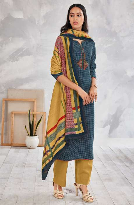 Cotton Printed Salwar Kameez In Multi & Beige - MINS0256B