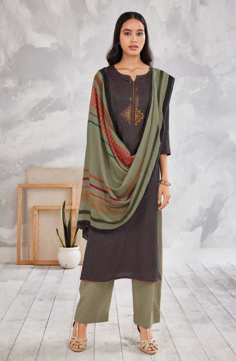 Cotton Printed Salwar Kameez In Multi & Olive - MINS0256C