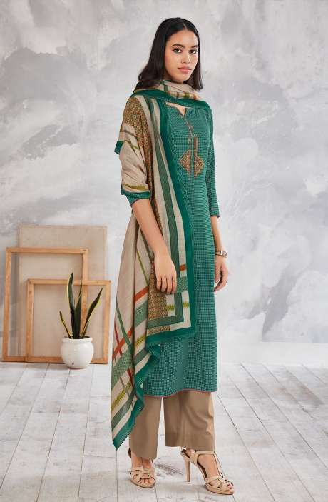 Cotton Printed Salwar Kameez In Multi & Beige - MINS0256D
