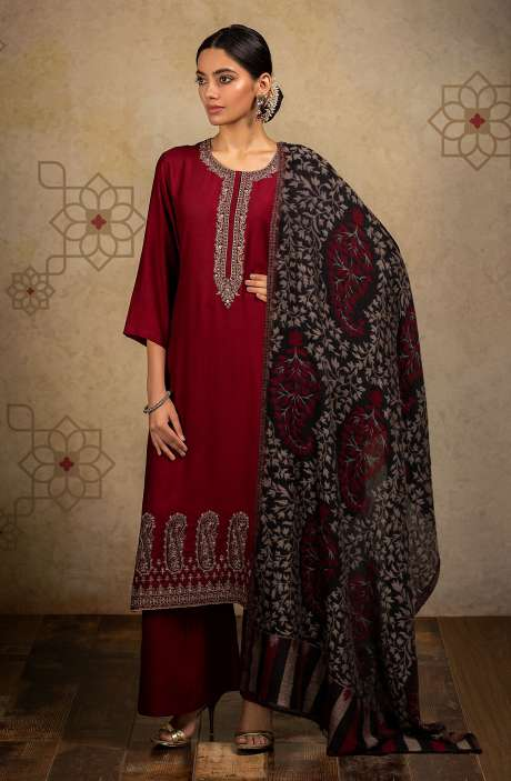 Exclusive Pure Pashmina Beautiful Paisley Embroidery Salwar Suit In Maroon - MIRA8003