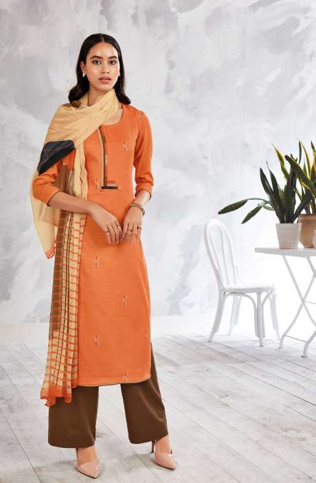 Cotton Digital Printed Salwar Suit In Orange with Chiffon Dupatta - MISS0252A