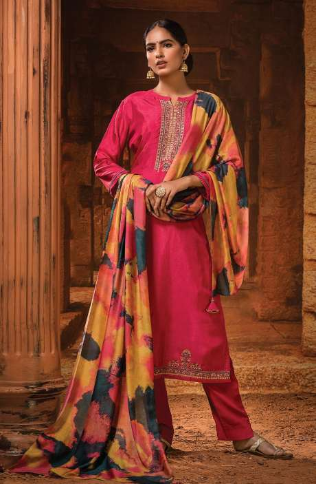 Russian Silk Unstitched Embroidery Salwar Suit In Pink with Beautiful Dupatta - MOH1101