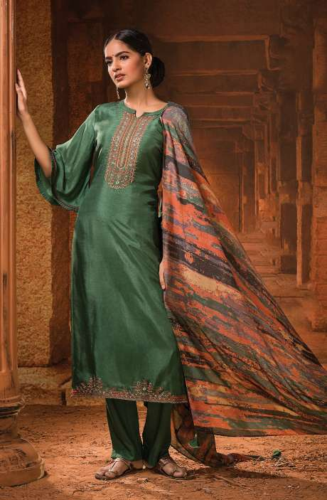Russian Silk Unstitched Embroidery Salwar Suit In Bottle Green with Beautiful Dupatta - MOH1103