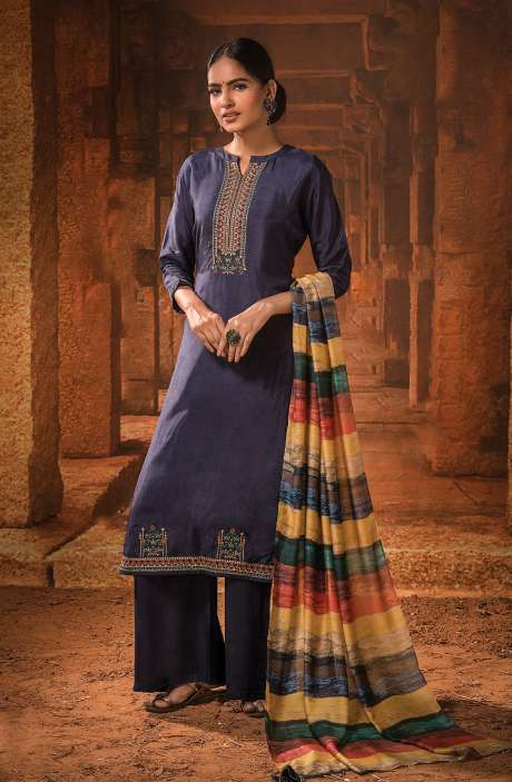Russian Silk Unstitched Embroidery Salwar Suit In Blue with Beautiful Dupatta - MOH1104