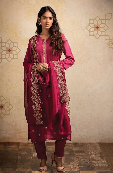 Designer Semi-stitched Russian Silk Salwar Suit Set In Magenta with Organza Dupatta - MOK8503A