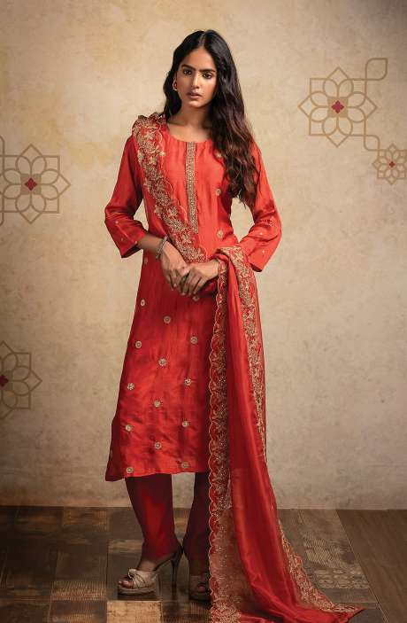 Designer Semi-stitched Russian Silk Salwar Suit Set In Rust with Organza Dupatta - MOK8503B