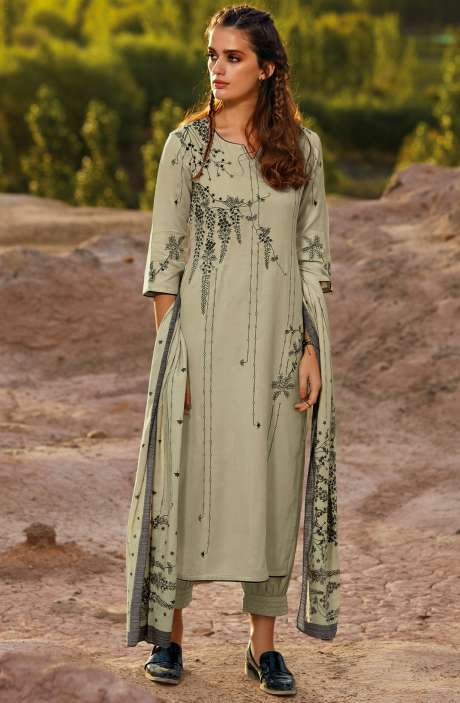 Spun Embroidered Unstitched Winter Salwar Kameez In Light Green - MOR8104