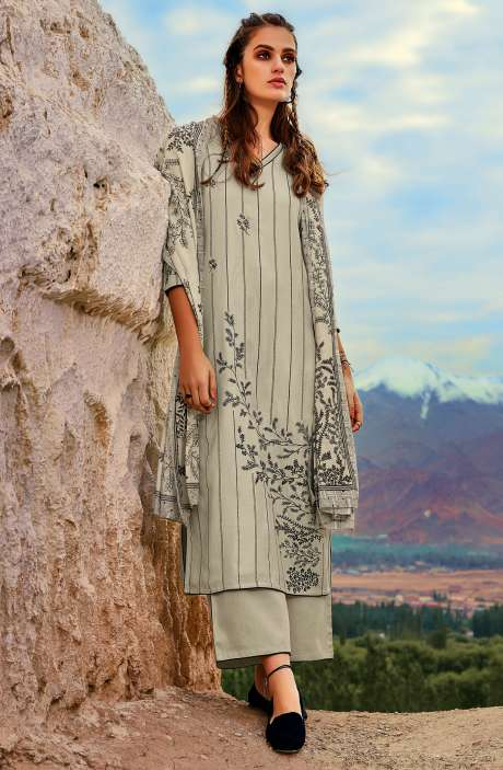 Spun Embroidered Unstitched Winter Salwar Suit In Pista Green - MOR8107