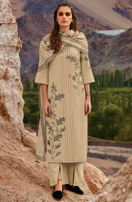 Spun Embroidered Unstitched Winter Salwar Suit In Beige - MOR8108