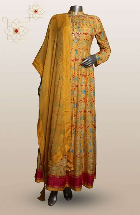 Cotton Silk Digital Printed with Zari & Sequins Work Yellow Stitched Anarkali Suits - MT-3926