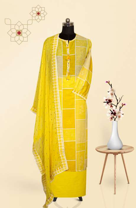 Cotton Semi-stitched Suit Set in Yellow with Trendy Dupatta - MT5191