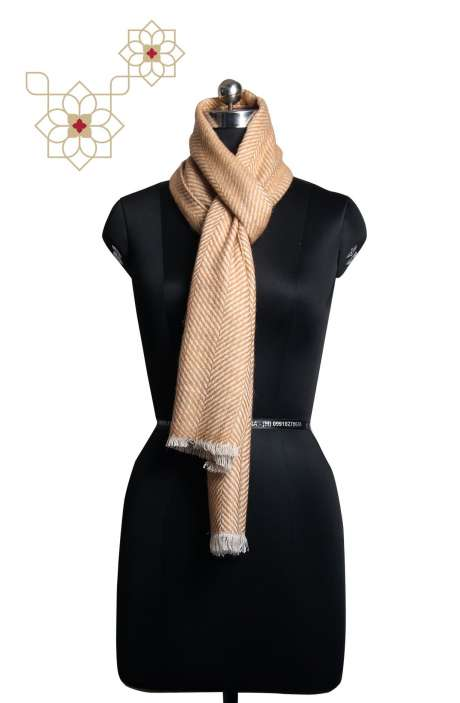 Fawn and White Cashmere Woolen Muffler - MUF09874268
