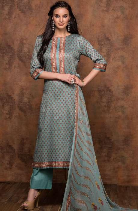 Cotton Printed Unstitched Salwar Suit In Firozi - MUJ1436A