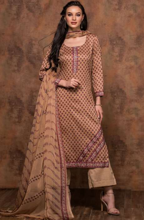 Cotton Printed Unstitched Salwar Suit In Brown - MUJ1436B