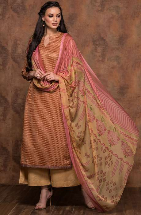 Cotton Printed Unstitched Salwar Suit In Mustard & Pink - MUJ1437B