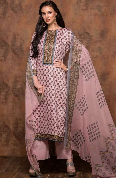 Cotton Printed Unstitched Salwar Suit In Light Pink - MUJ1438A
