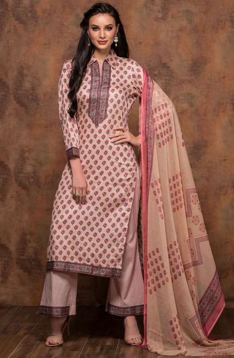 Cotton Printed Unstitched Salwar Suit In Fawn - MUJ1438B