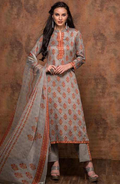 Cotton Printed Unstitched Salwar Suit In Grey - MUJ1439A